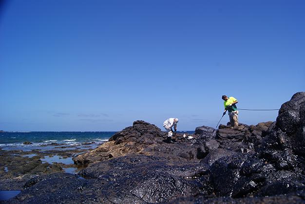 Foto (FS): Operarios trabajando en la recogida de el último vertido en Playa Arinaga, Agüimes.