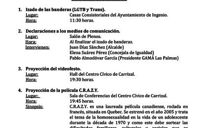 La Villa de Ingenio se suma a la celebración del Día Internacional del Orgullo LGTB