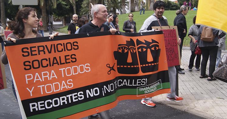 """Foto archivo (FS): Manifestación """"pan, trabajo y dignidad"""" en Las Palmas de Gran Canaria."""